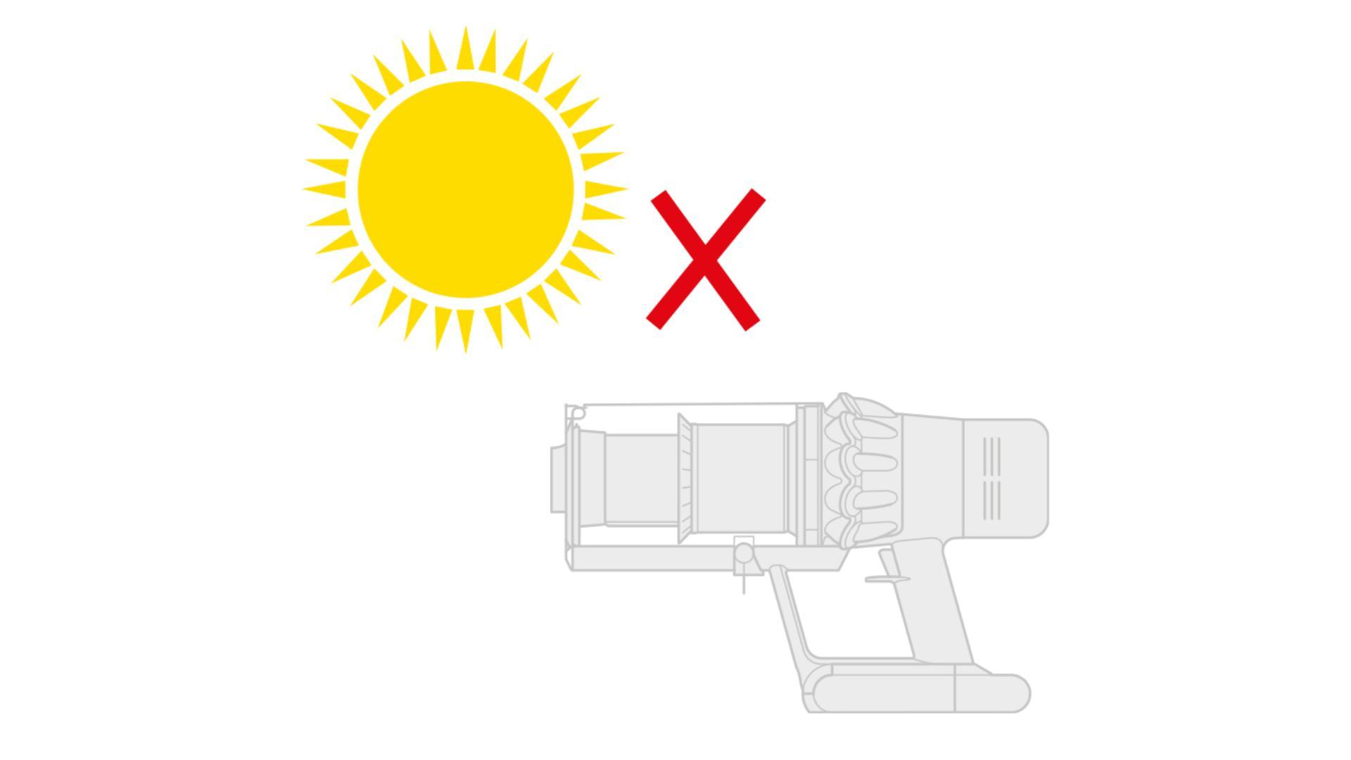 직사광선에서 다이슨 무선 청소기 배터리 성능이 저하될 수 있음을 보여주는 태양과 붉은 십자가 다이어그램