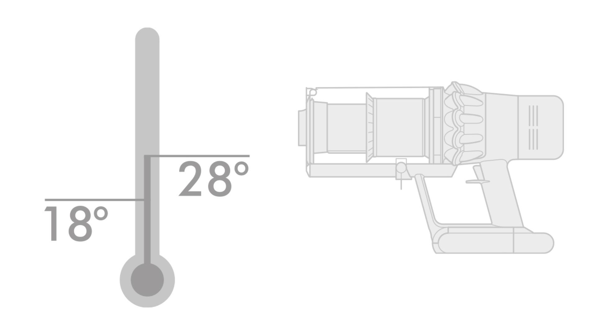 온도계 및 다이슨 무선 청소기 다이어그램