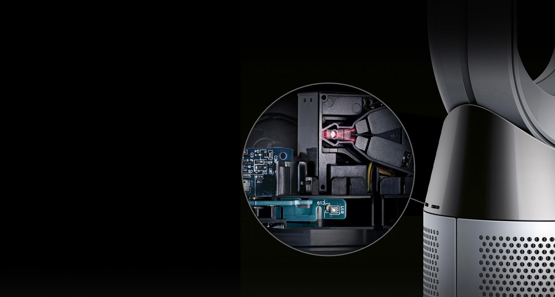 Dyson Pure Cool hava temizleyici fanın sensörünün yakınlaştırılmış gösterimi