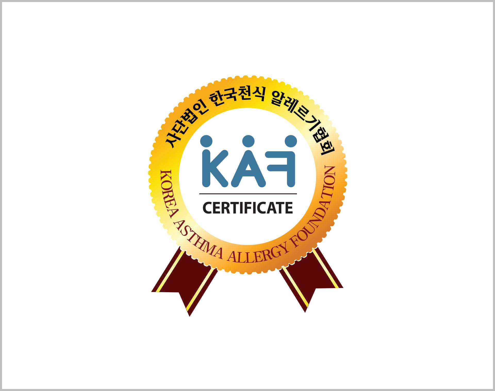 Certificated by Korea Asthma and Allergy Foundation