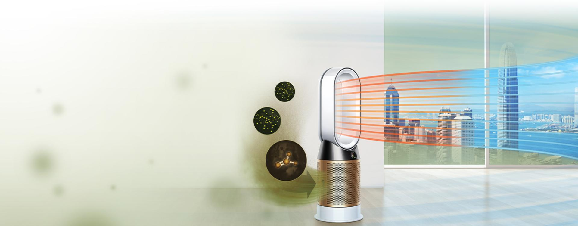 A man paints a room, while formaldehyde gas pollutes the air around him. The Dyson Pure Cryptomic purifier draws in the pollution and projects purified air.