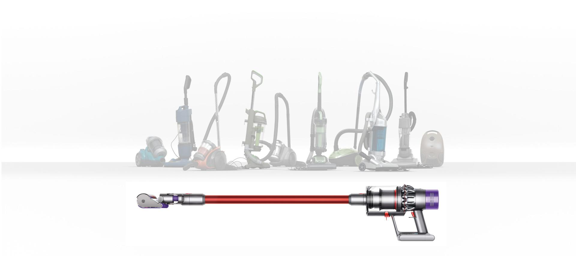 Dyson Cyclone V10™ vacuum cleaner on white floor