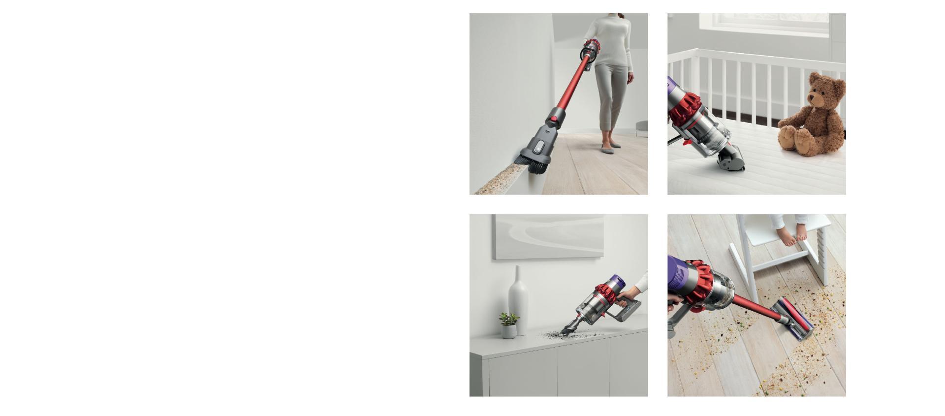 Dyson Cyclone V10™ 吸塵機由直立式轉換成手提吸塵機的動畫