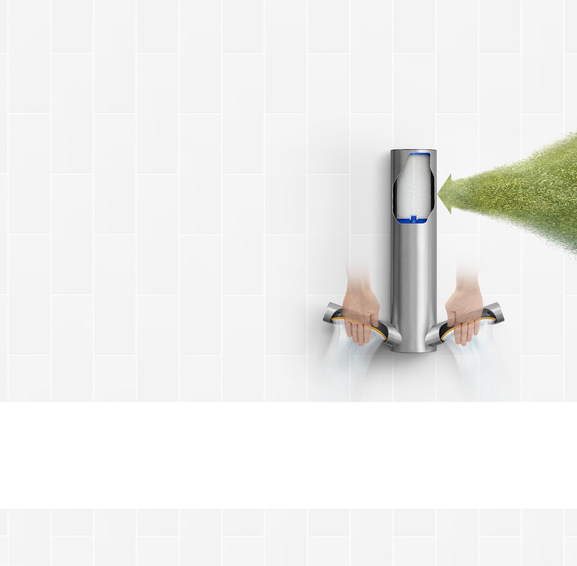 Dyson Airblade™ 9kJ 乾手機剖視圖HEPA過濾