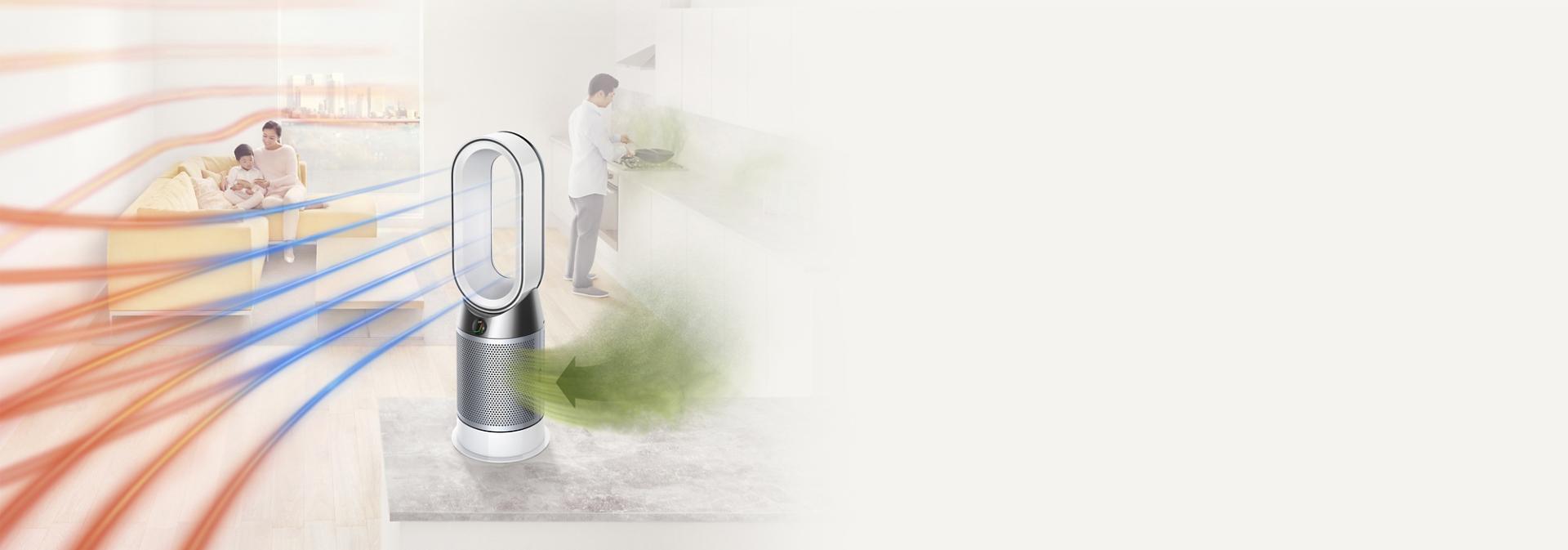 מסנן האוויר Dyson Pure Hot+Cool  מקרין אוויר וחימום מסוננים בחדר