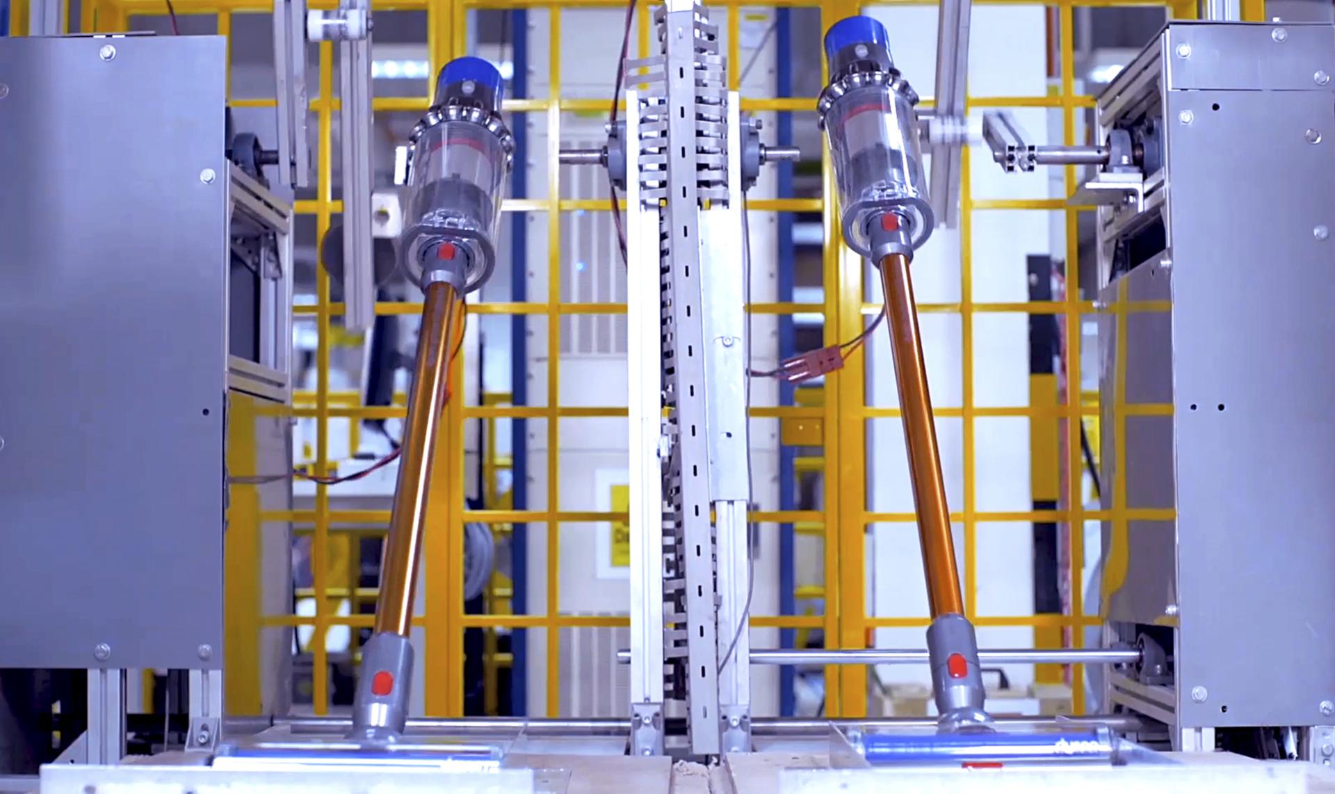 Two Dyson Cyclone V10™ vacuums being factory tested