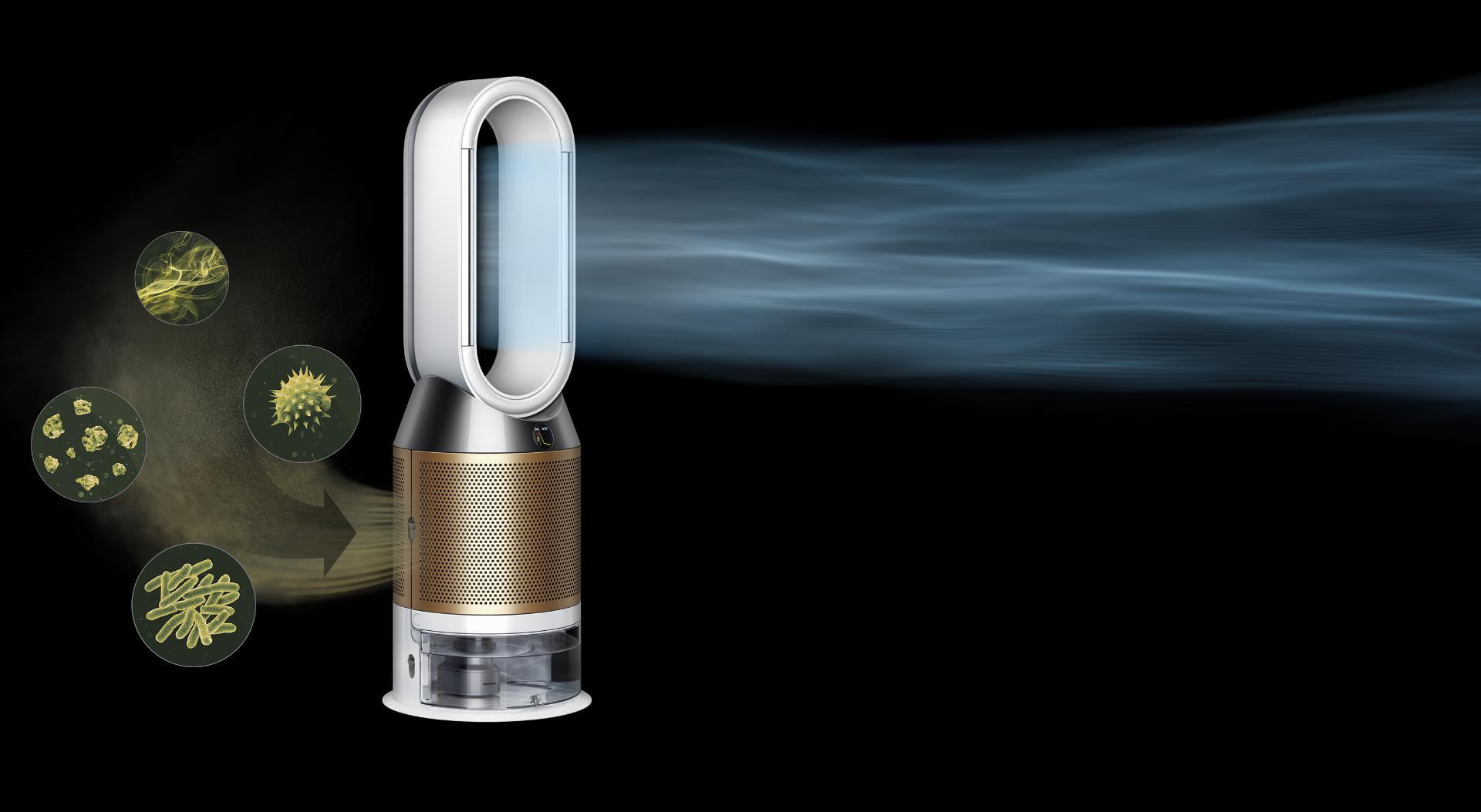 실험실 환경에서 오염 물질을 정화하기 직전의 다이슨 공기청정기
