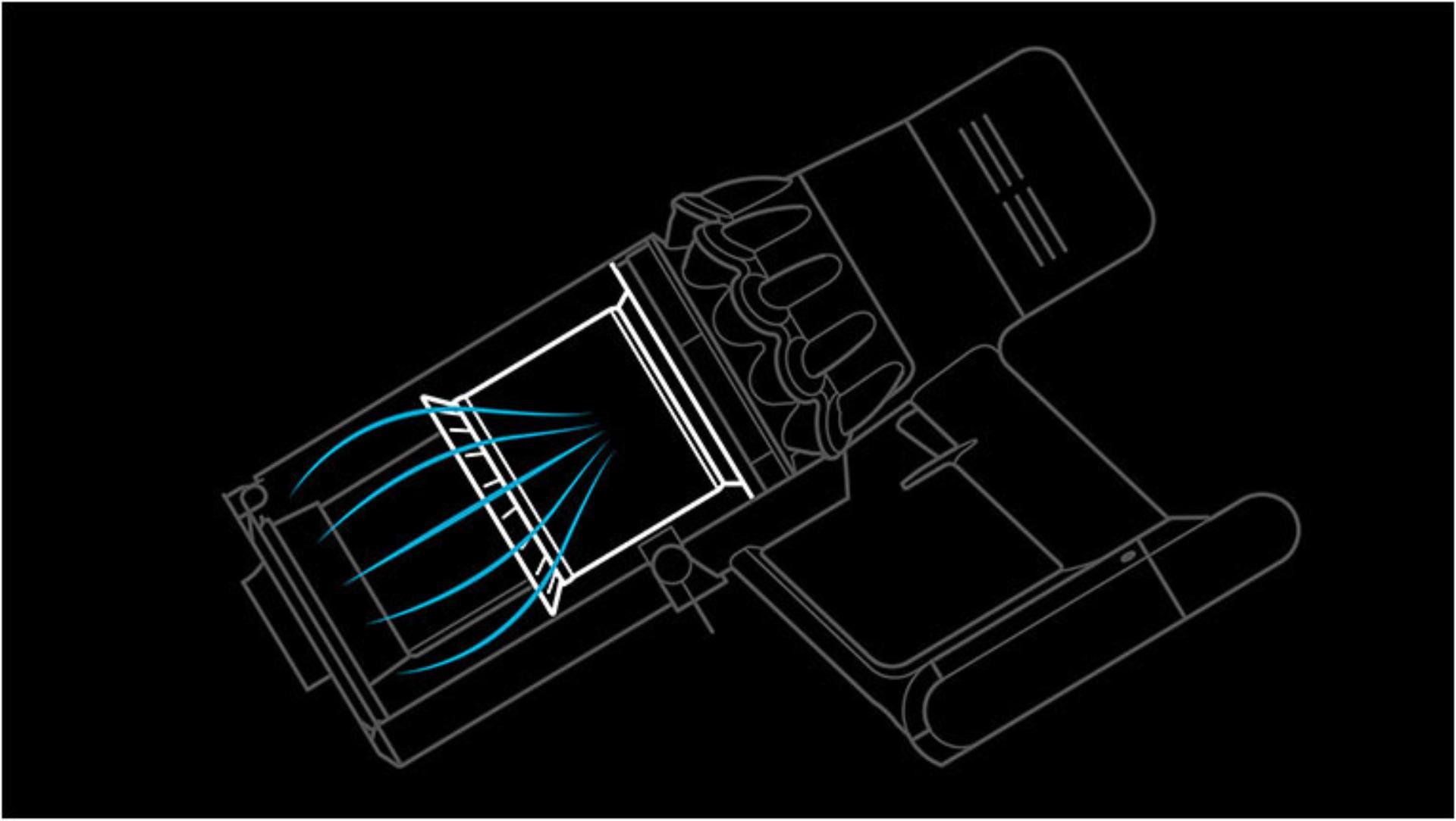 제품 전체에 적용된 다이슨 6단계 고성능 필터레이션 시스템