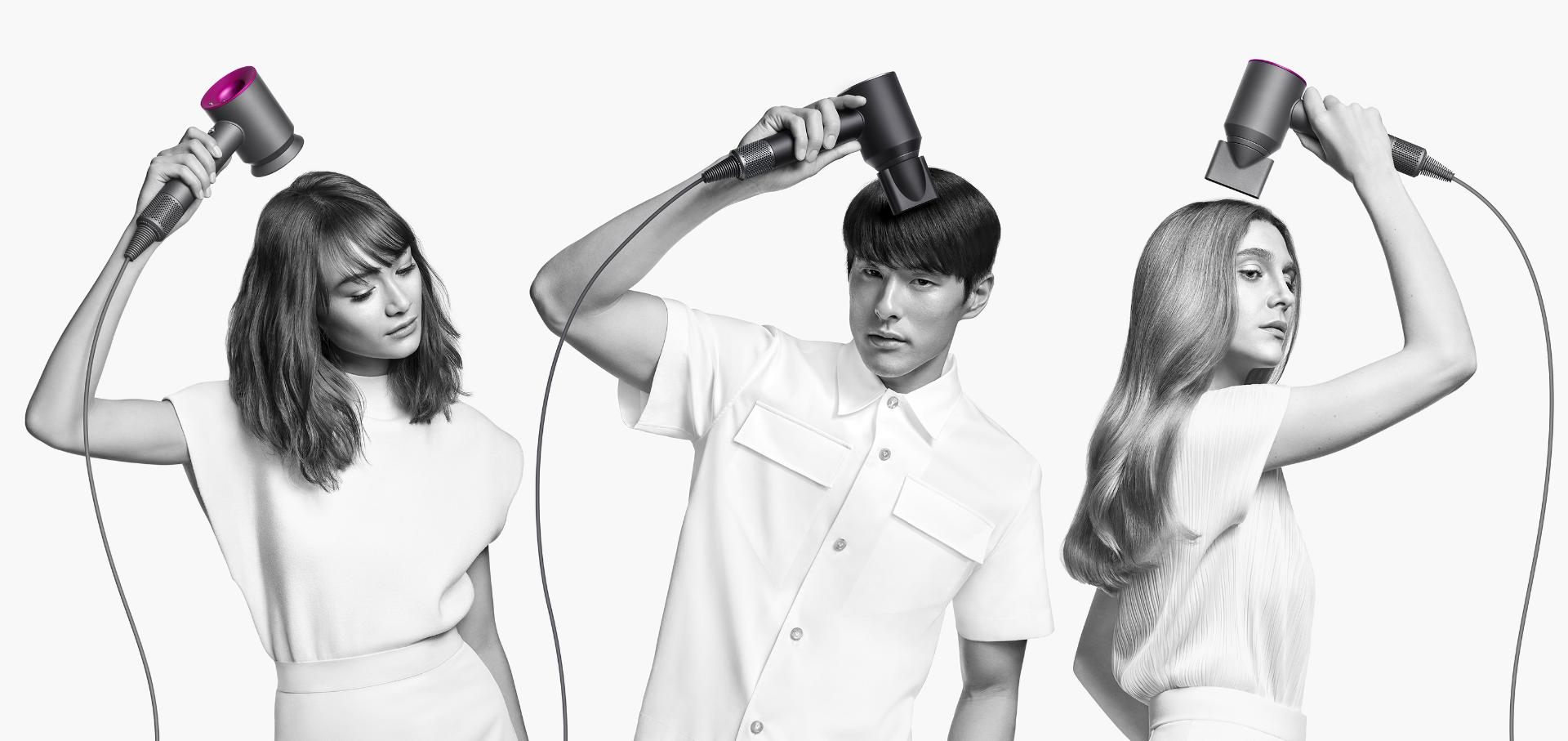 Three models with different hair types using different attachments to style their hair.