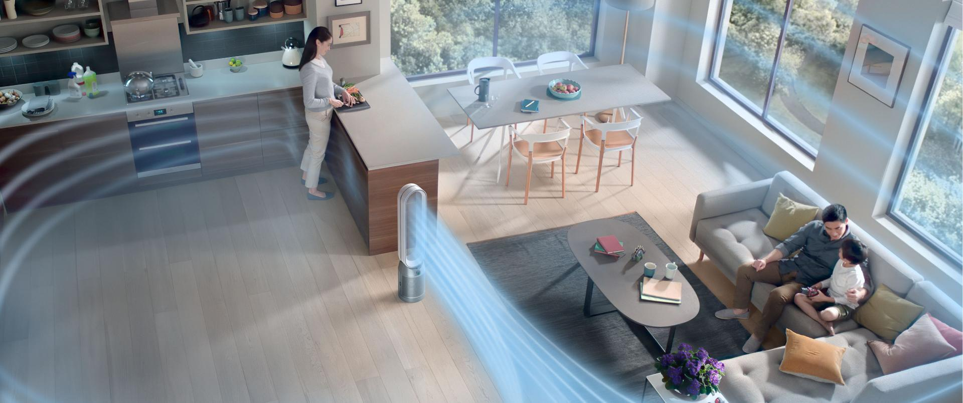 Large living space purified by a Dyson purifier