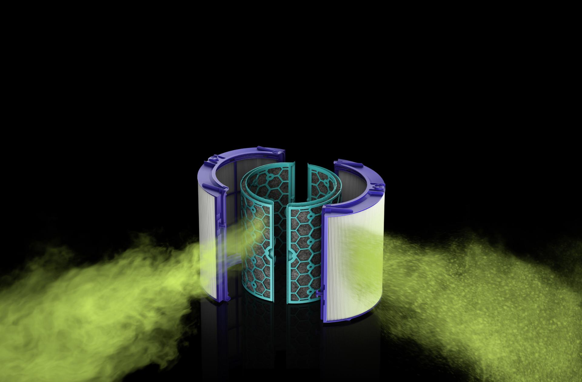Filter showing harmful gases entering