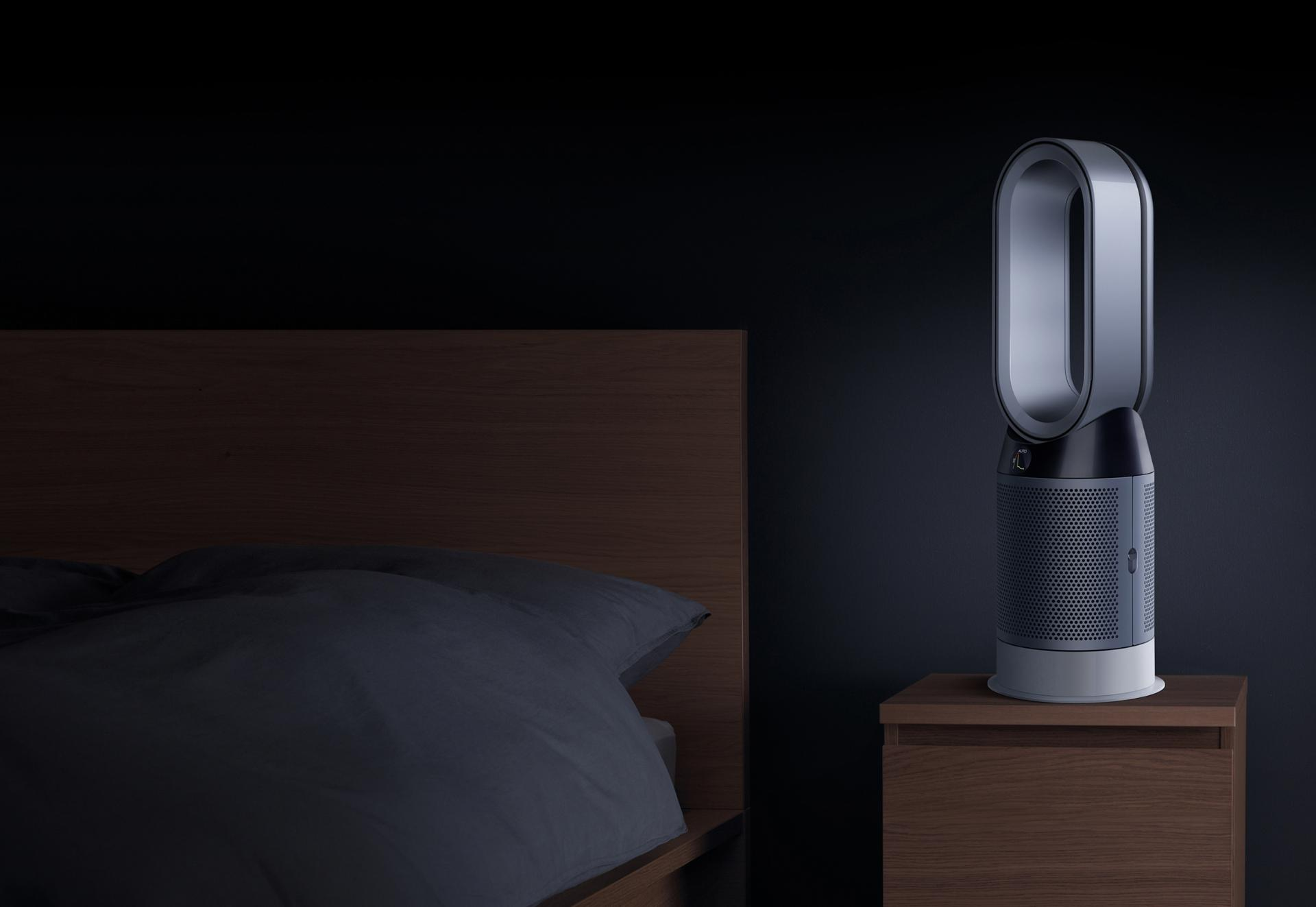 Dyson Pure Hot+Cool purifier in bedroom