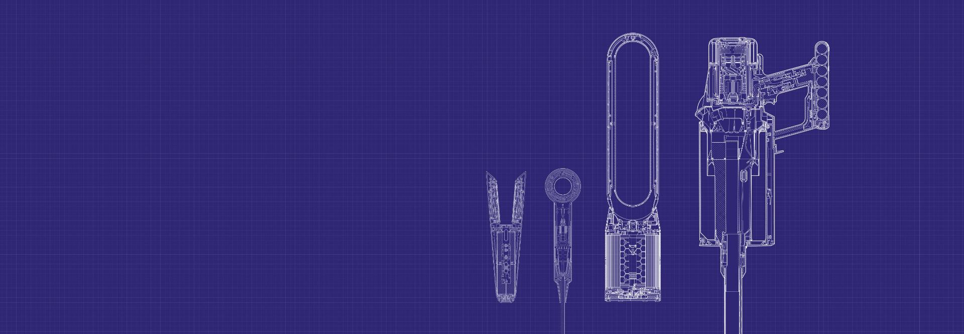 Technical drawings of Dyson Supersonic hair dryer, Dyson purifier and Dyson stick vacuum