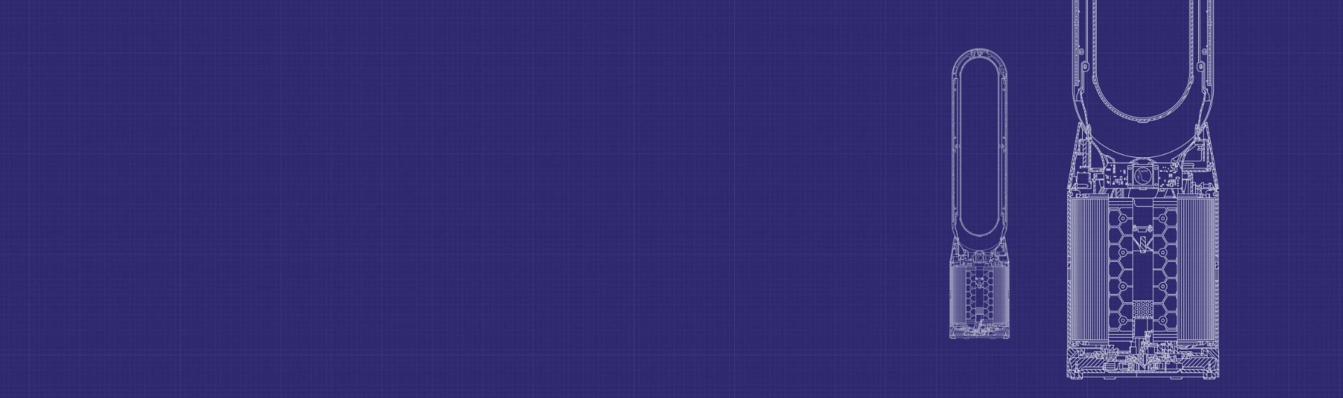 Dyson purifiers line drawings