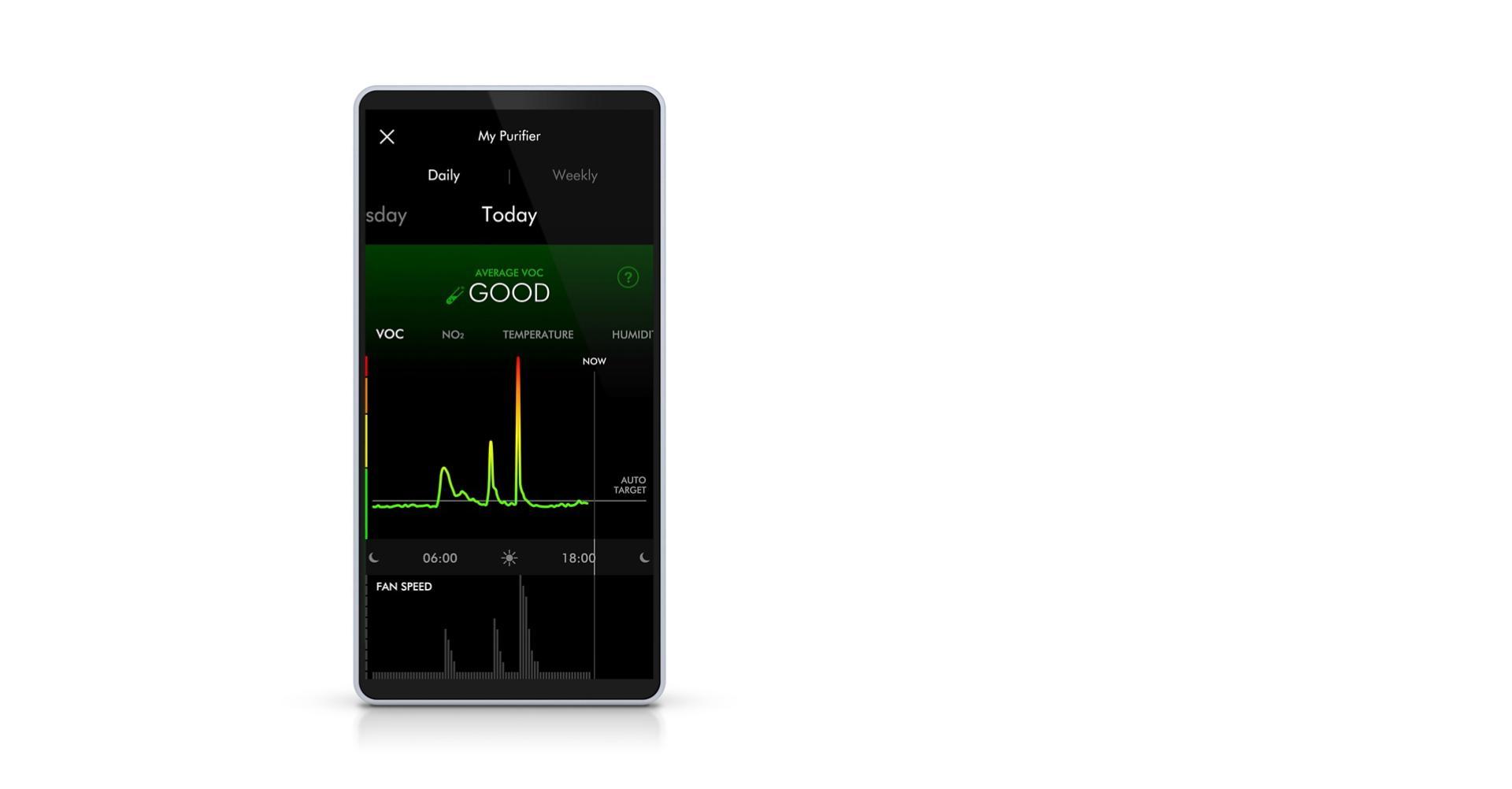 صورة مُقرّبة لتطبيق Dyson Link للتحكم في المروحة المُنقية للهواء Dyson Pure Cool™