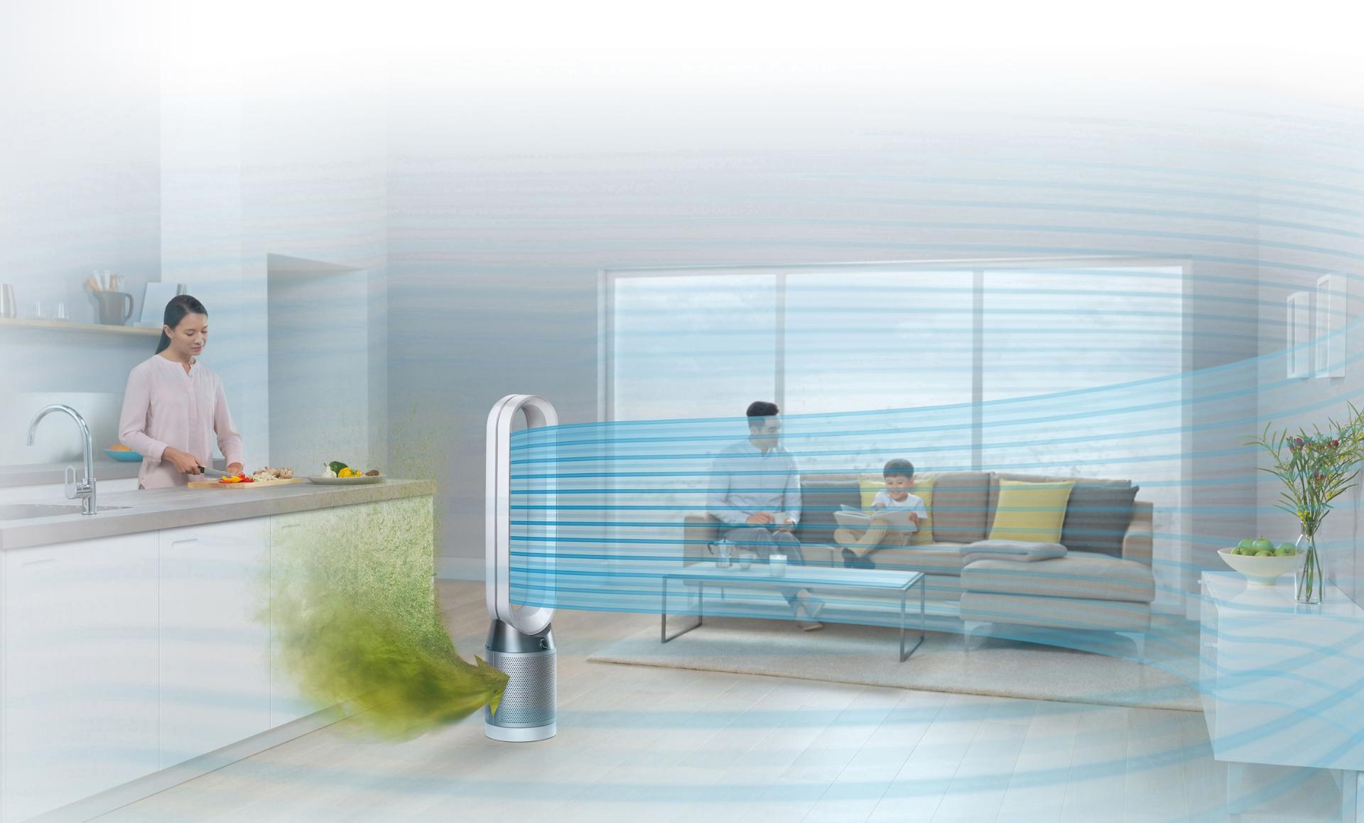 غرفة عائلية تستخدم المروحة المُنقية للهواء Dyson Pure Cool™