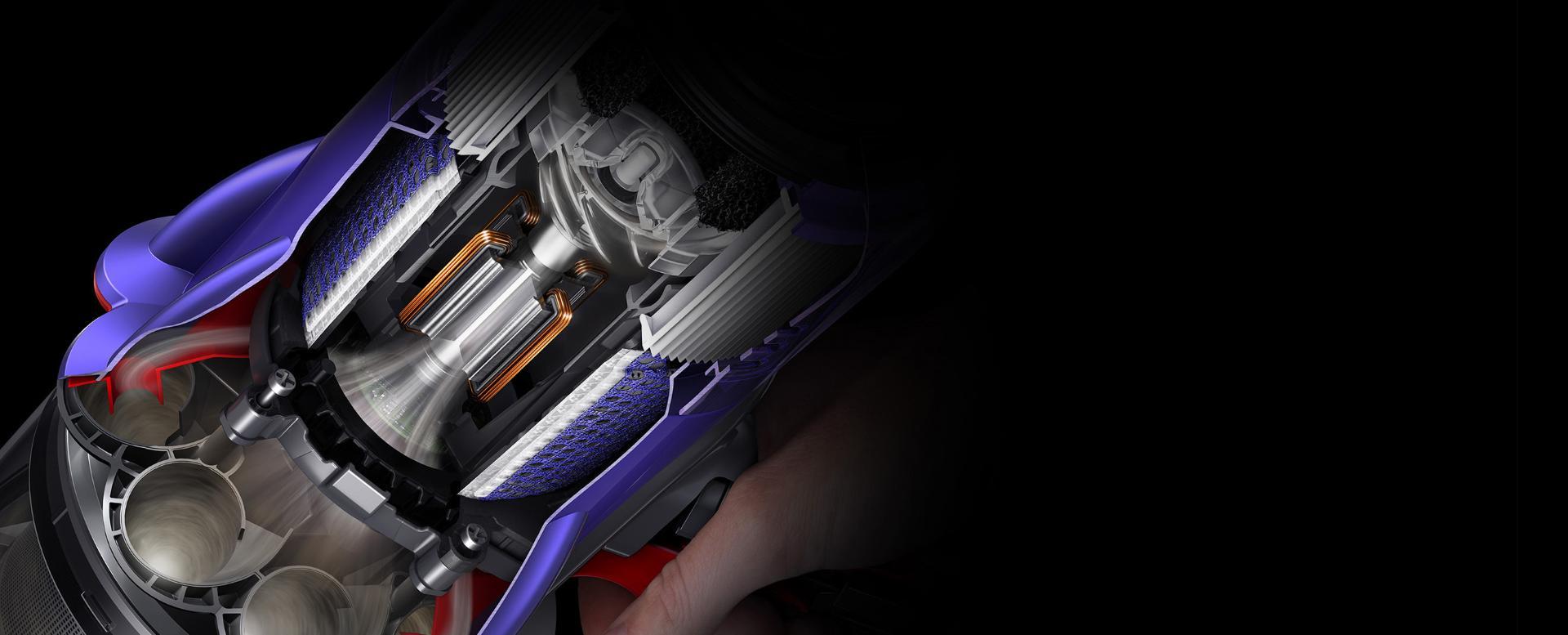 مخطط لقطات توضيحية يعرض المحرك والفلتر داخل المنكسة.