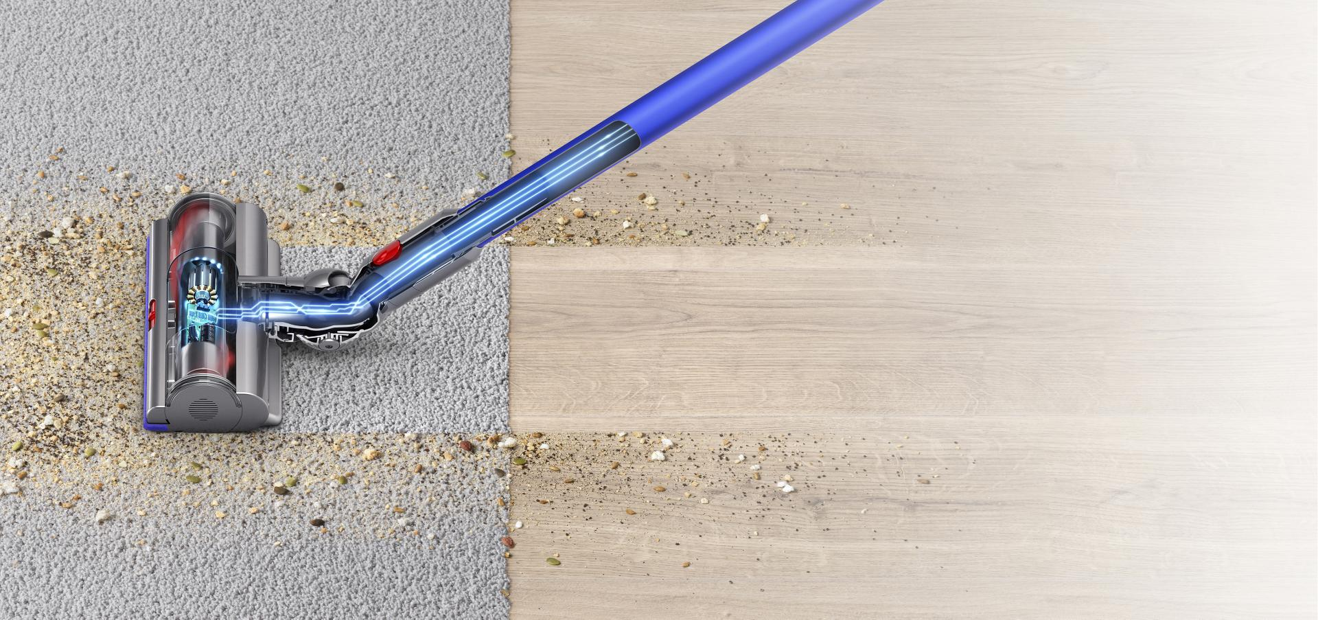 Play the video: See how the dynamic load sensor of the Dyson V11 vacuum cleaner works.