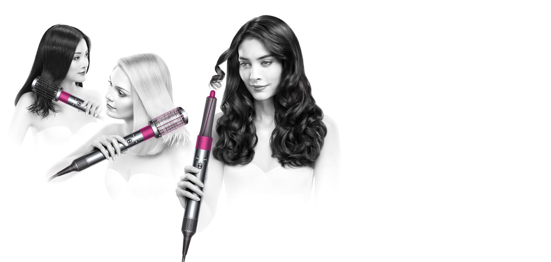 عارضات يستخدمن مصفف الشعر Dyson Airwrap لتصفيف شعرهن بملحقات مختلفة