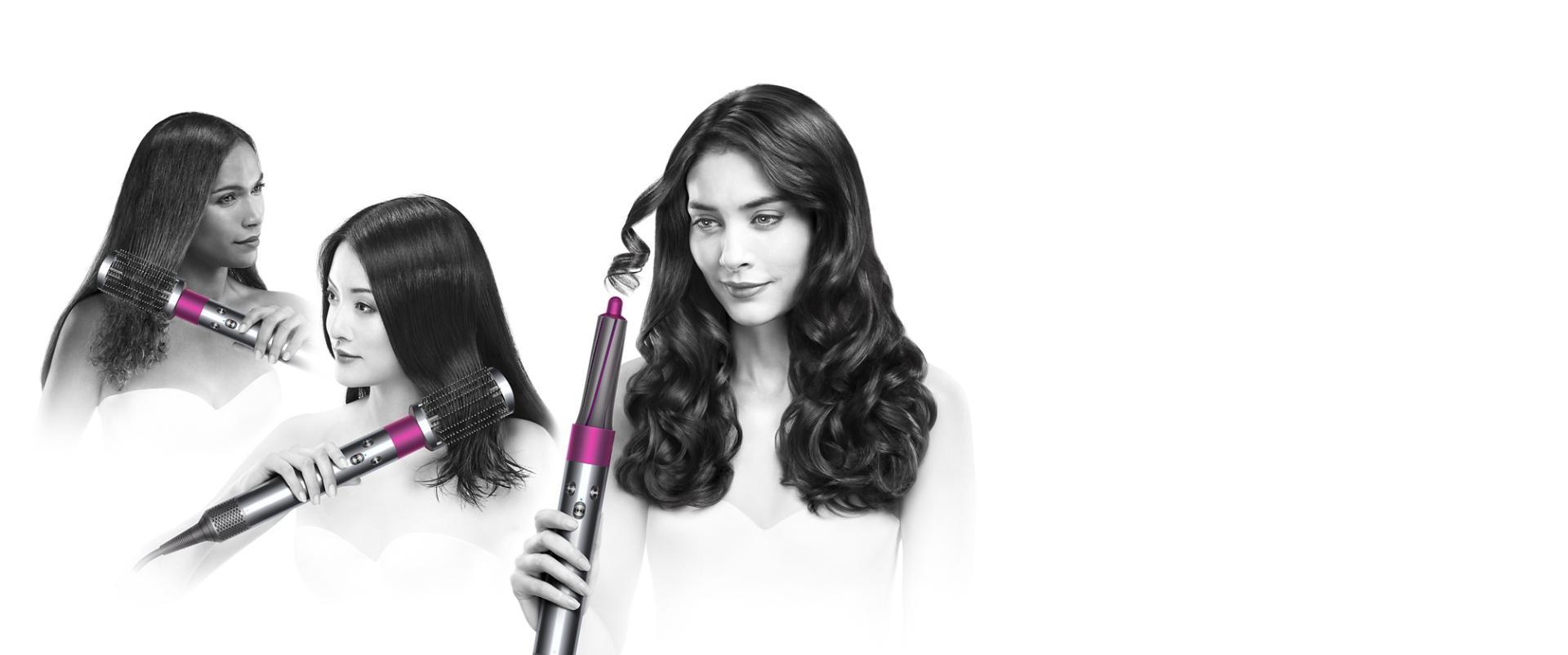 שלוש דוגמניות משתמשות במעצב השיער dyson airwrap עם אביזרים שונים