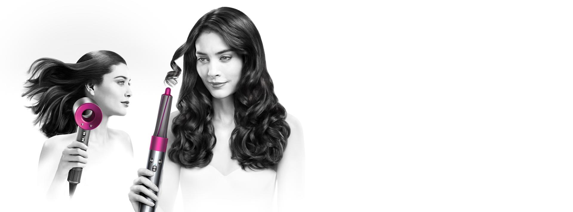 דוגמנית המשתמשת במגוון מוצרים בקטגורית טיפוח שיער