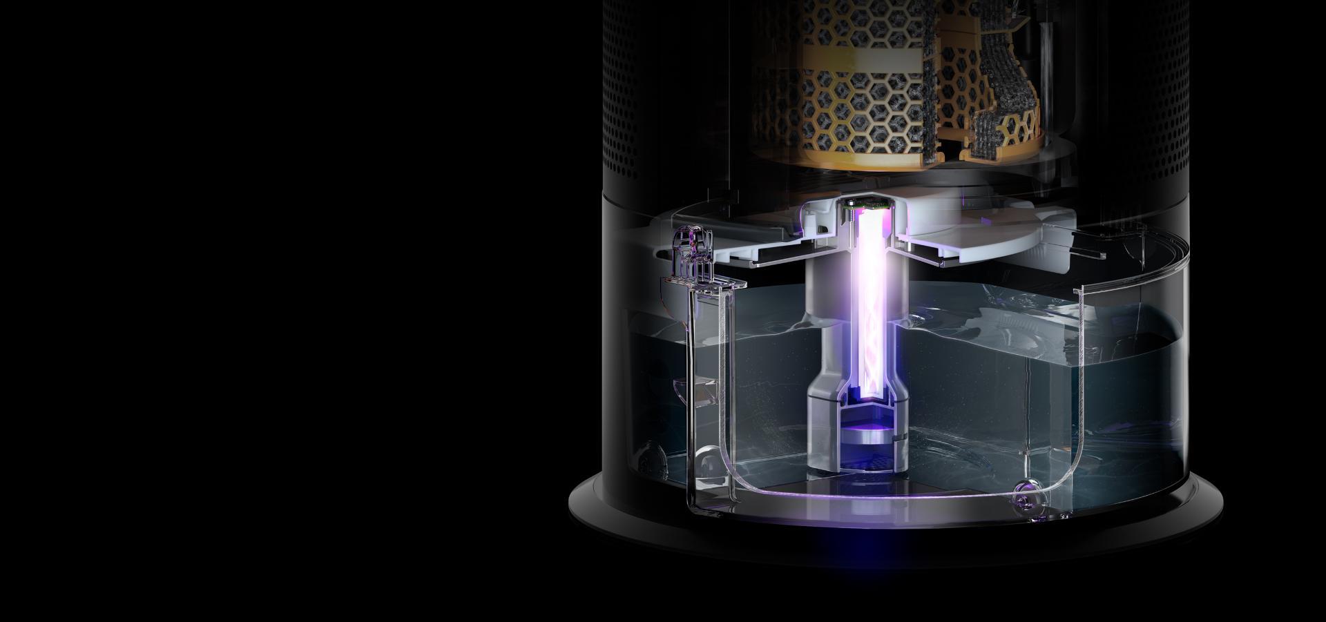 밝은 자외선이 물 속을 비추고 있는 다이슨 가습 공기청정기의 물 탱크 내부