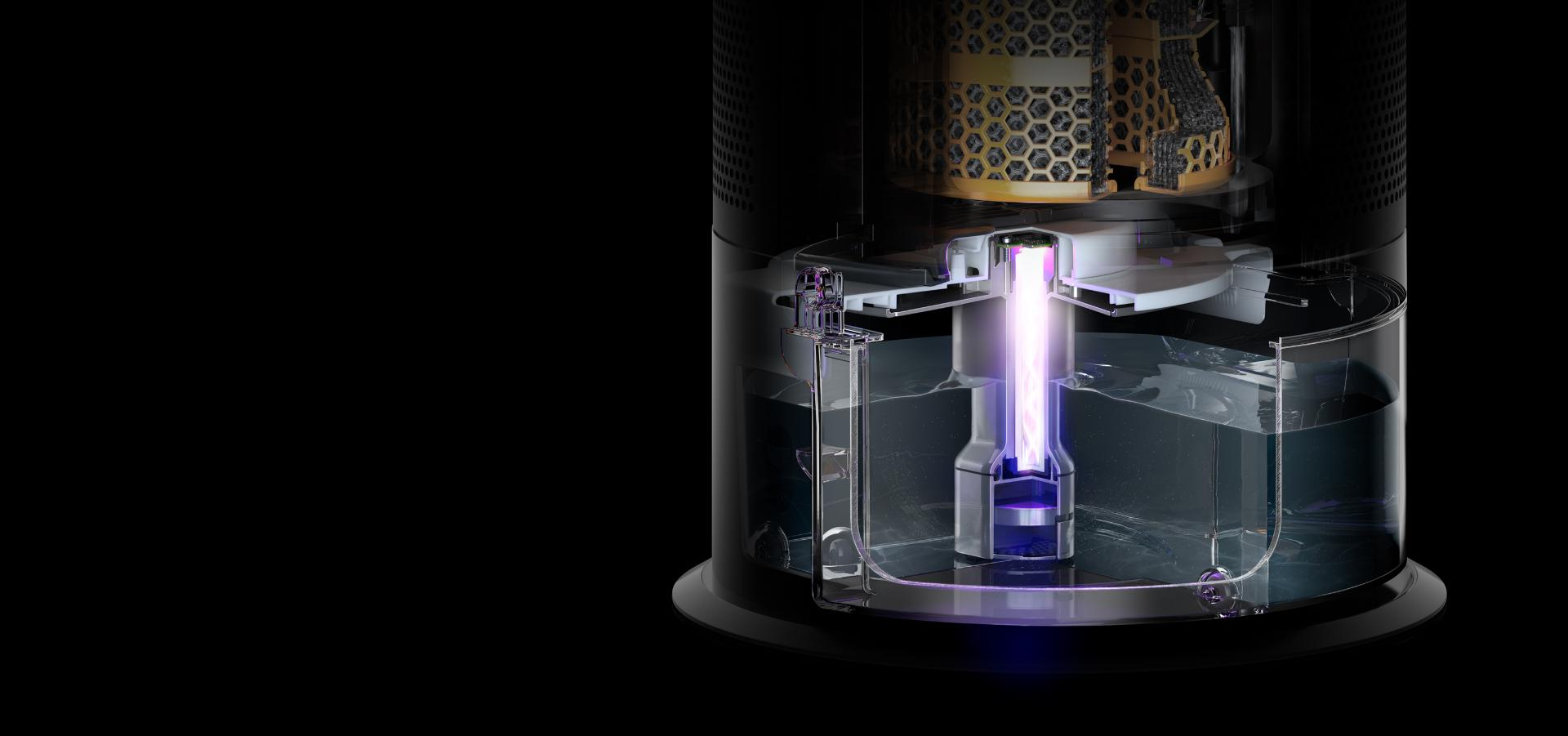 Inside the Dyson purifier humidifier's water tank, where a bright ultraviolet beam lights up the water
