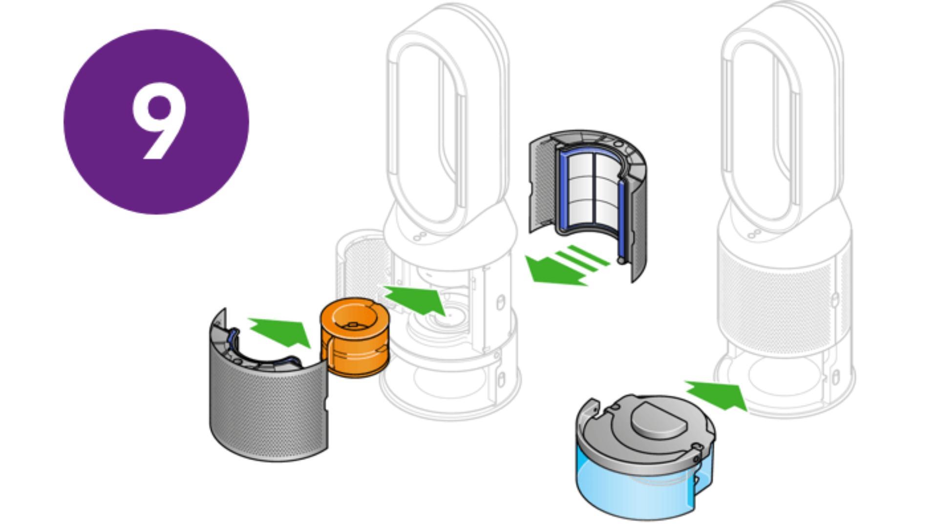 Zamontuj dysk ewaporacyjny i zbiornik na wodę ponownie w urządzeniu