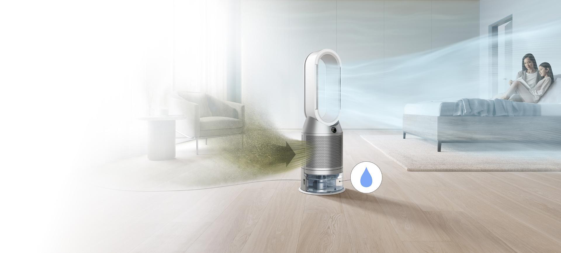 Oczyszczacz z funkcją nawilżania Dyson w pokoju, wychwytuje zanieczyszczenia i zapewnia cyrkulację oczyszczonego powietrza