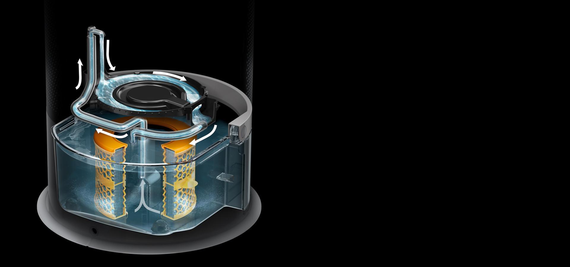 Przekrój przez urządzenie przeprowadzające cykl głębokiego oczyszczania