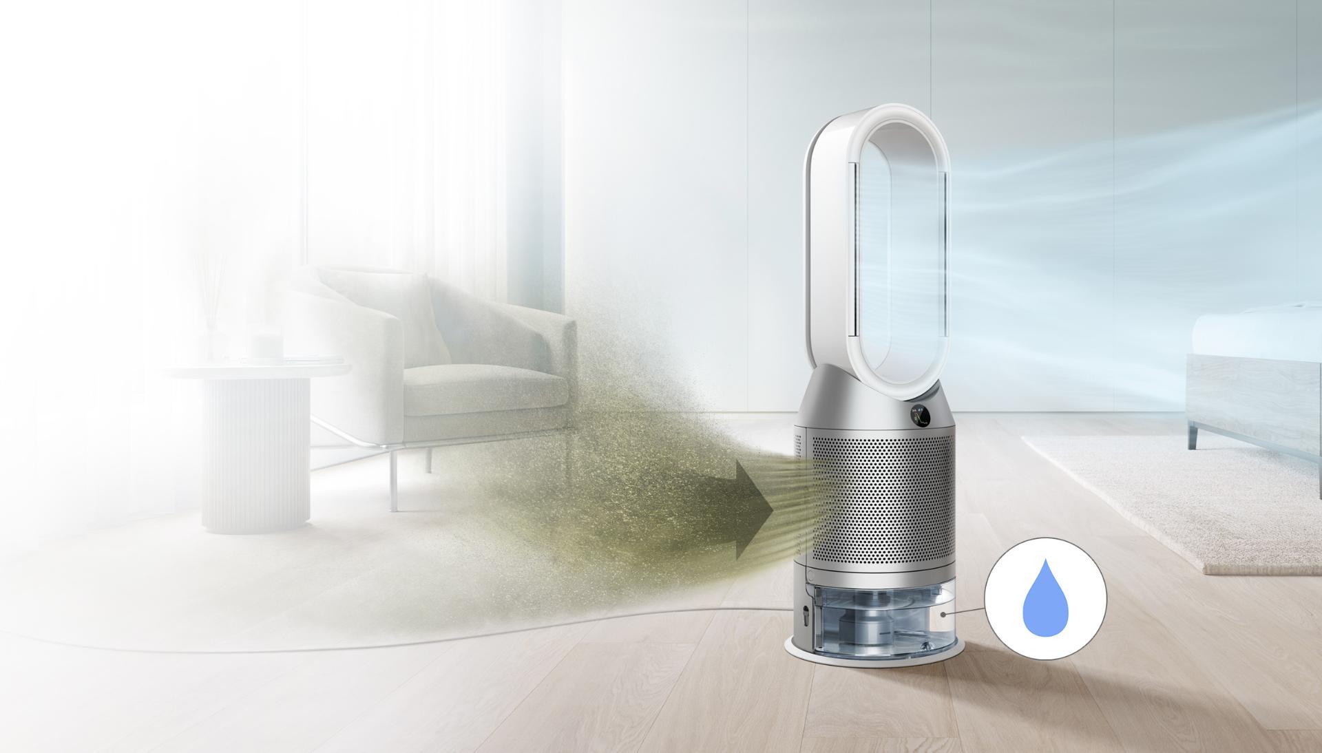 Oczyszczacz z funkcją nawilżania i chłodzenia wychwytuje zanieczyszczenia i wydala oczyszczone powietrze
