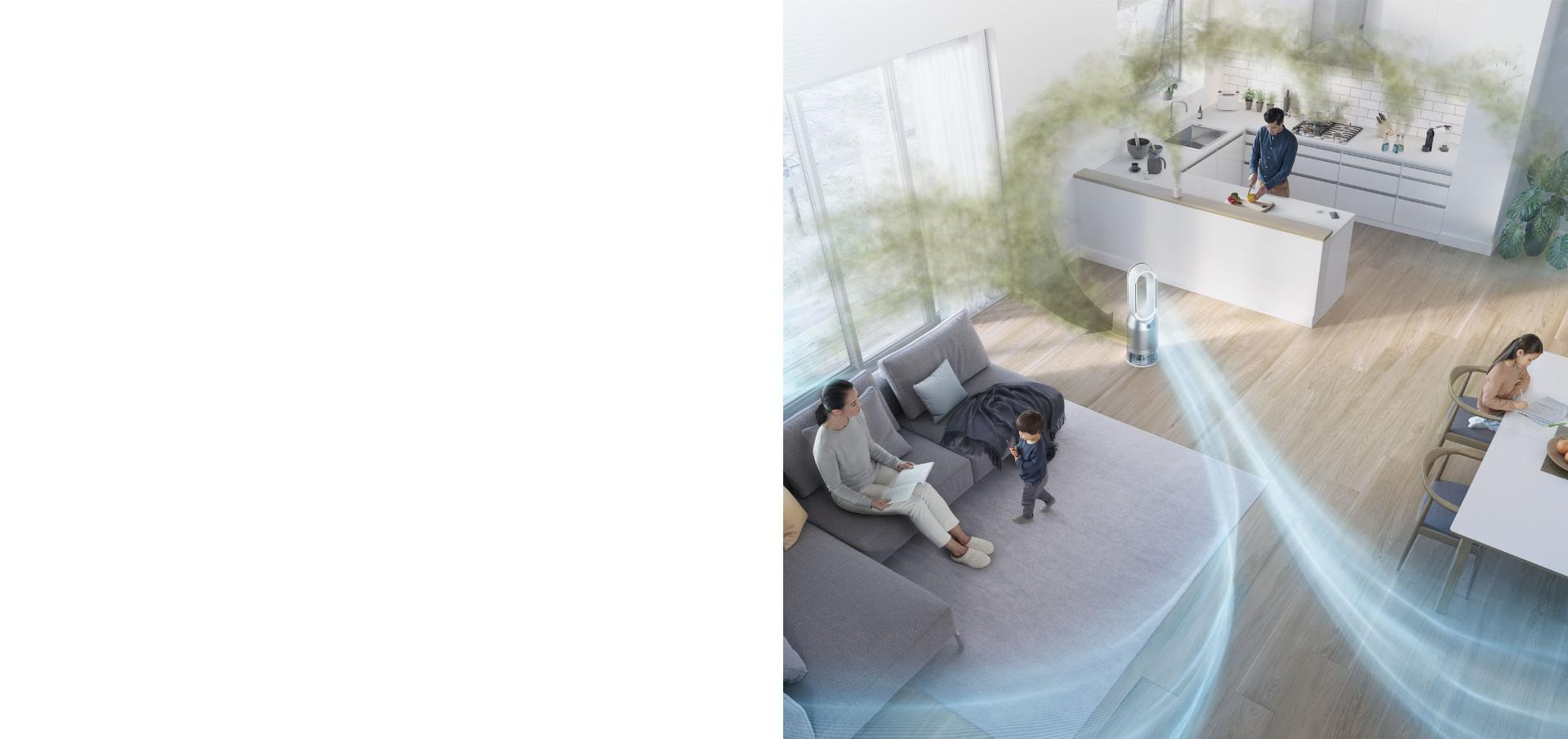 Widok z lotu ptaka na pokój z oczyszczaczem powietrza z funkcją nawilżania Dyson