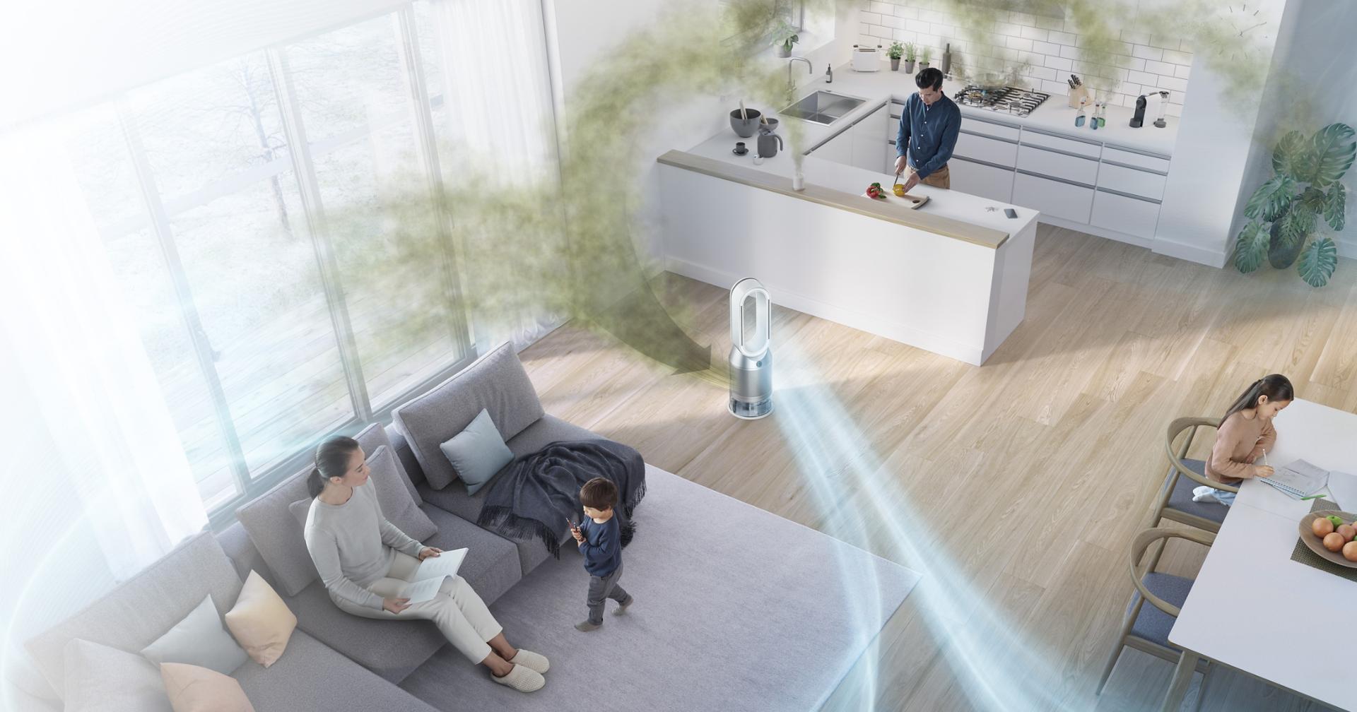 Widok z lotu ptaka na pomieszczenia w domu, z oczyszczonym powietrzem docierającym w każdy zakątek