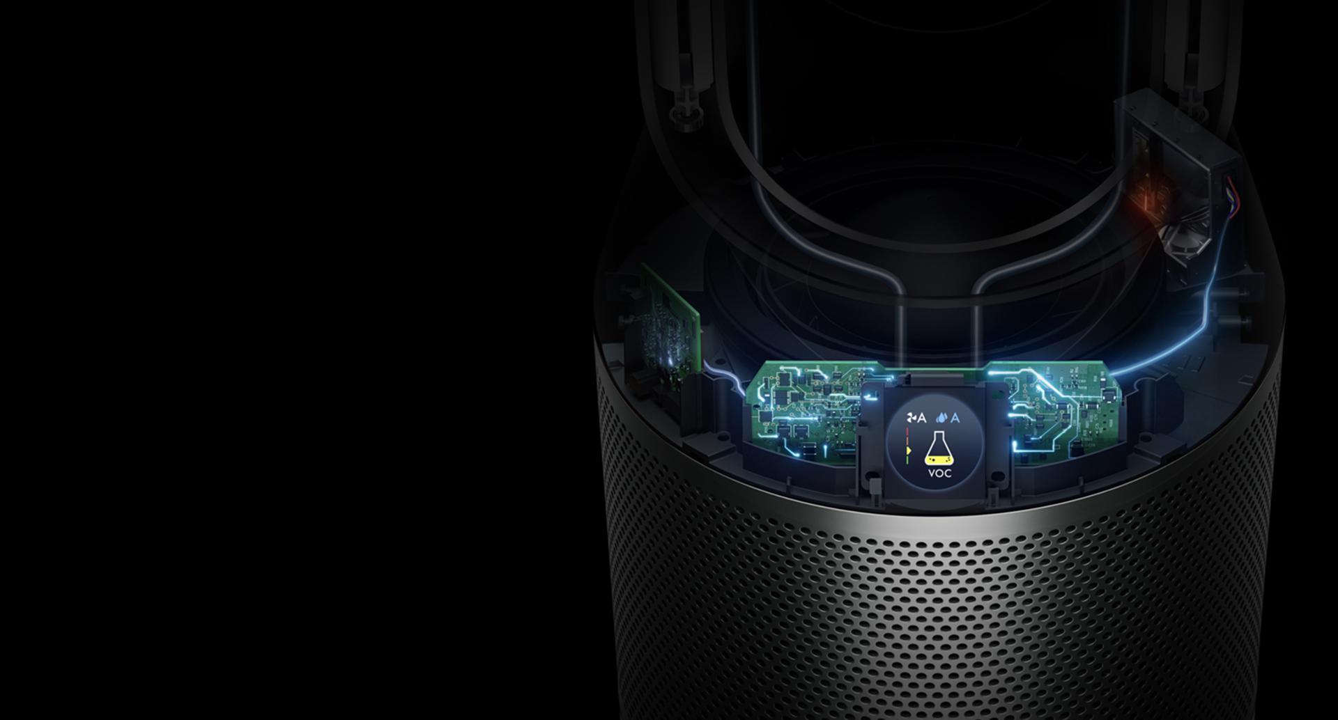 Wewnętrzne części urządzenia i trzy czujniki – wyświetlane na ekranie LCD