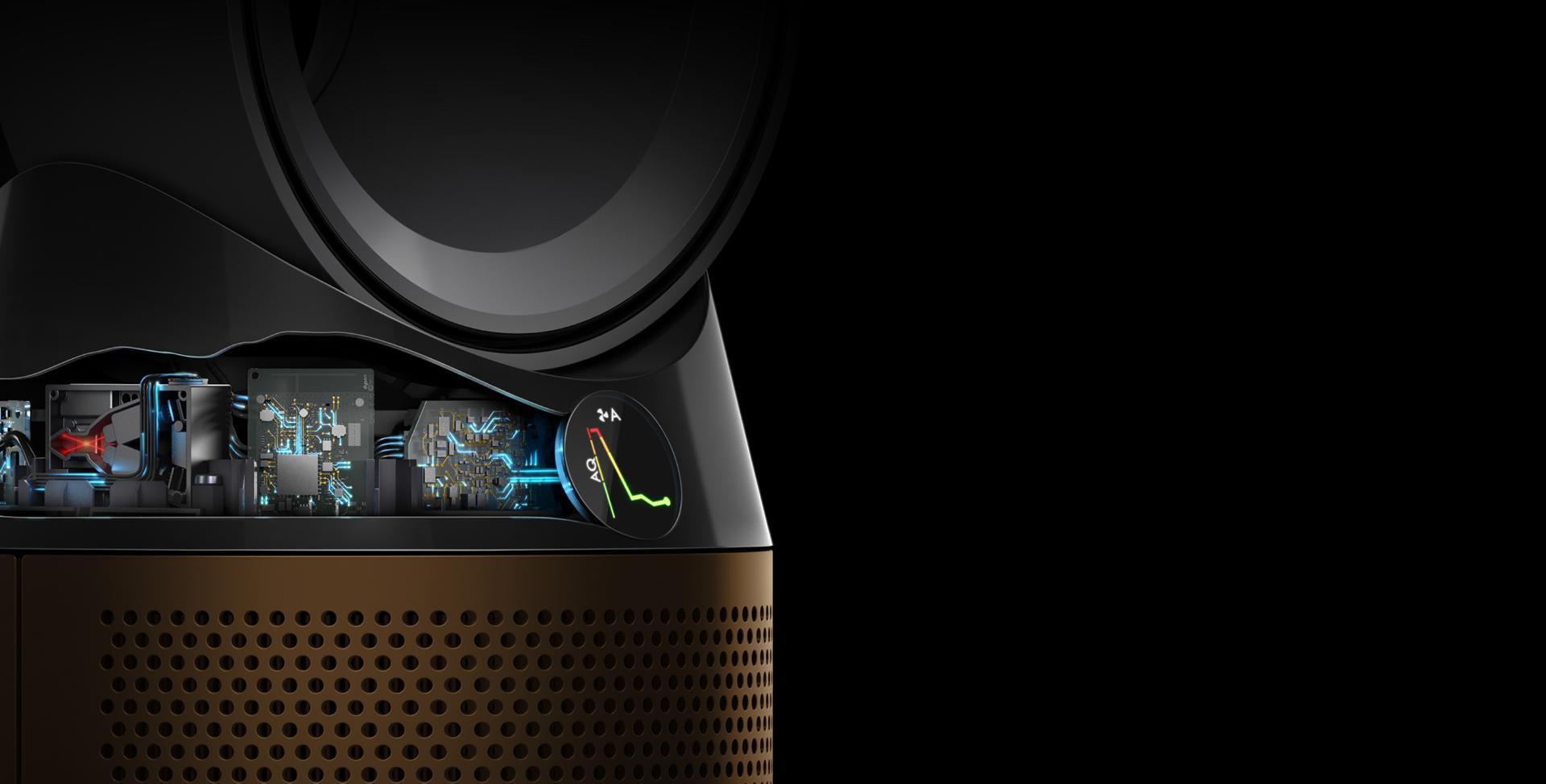 หน้าจอ LCD ของเครื่องกรองอากาศ Dyson Cryptomic กำลังตรวจจับมลพิษในอากาศ