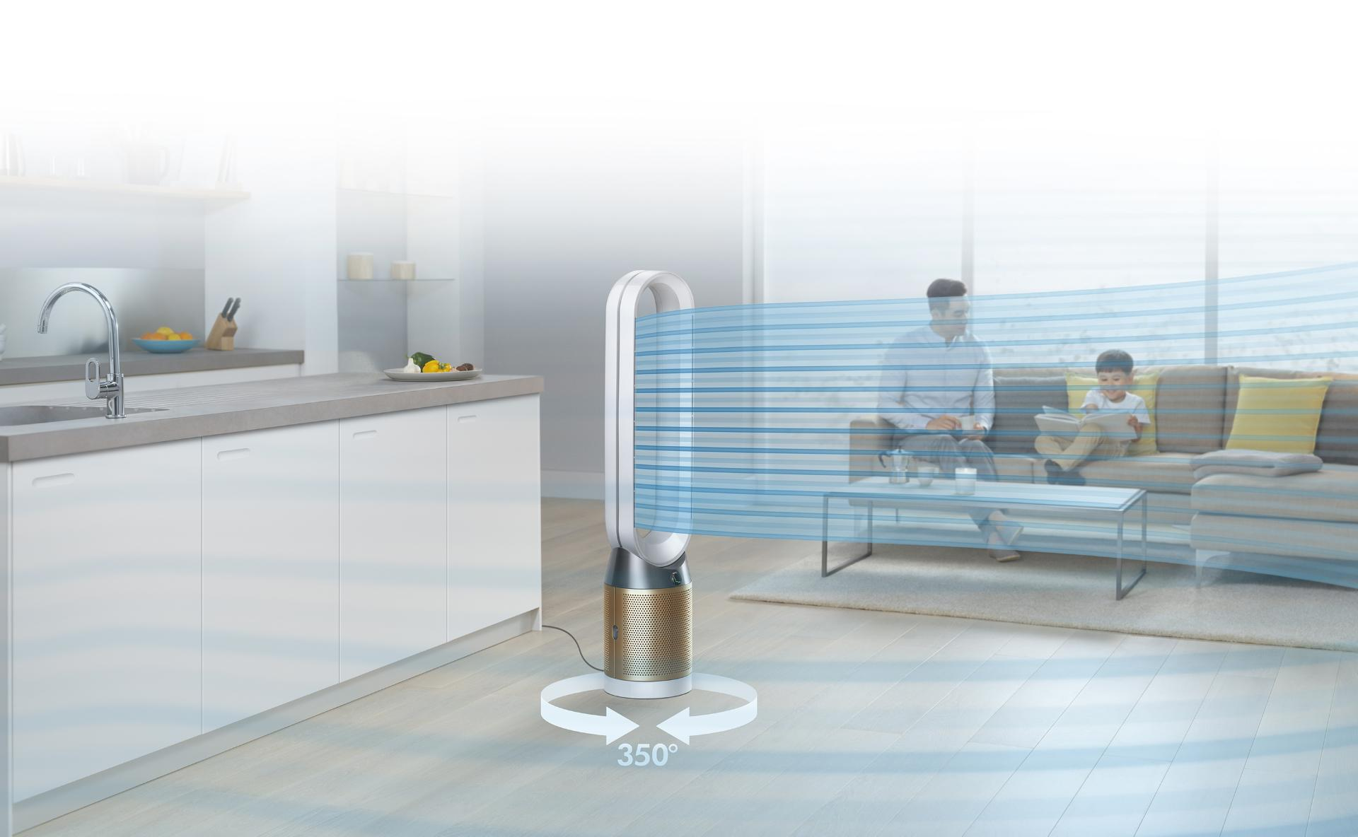The Dyson Pure Cool Cryptomic projecting cooling purified air throughout a large open lounge and kitchen