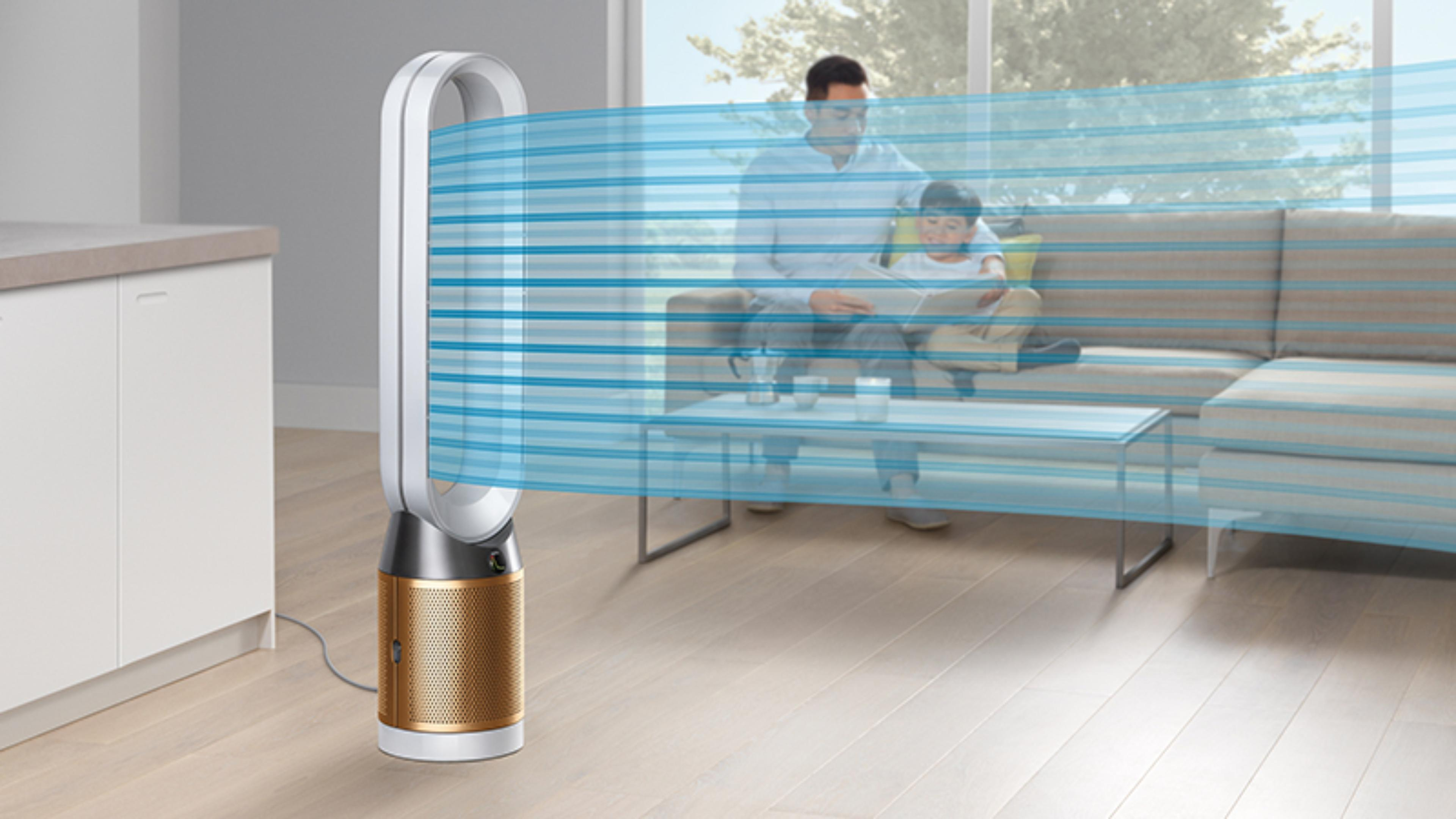 A Dyson Pure Cryptomic purifier projecting a cooling stream of air
