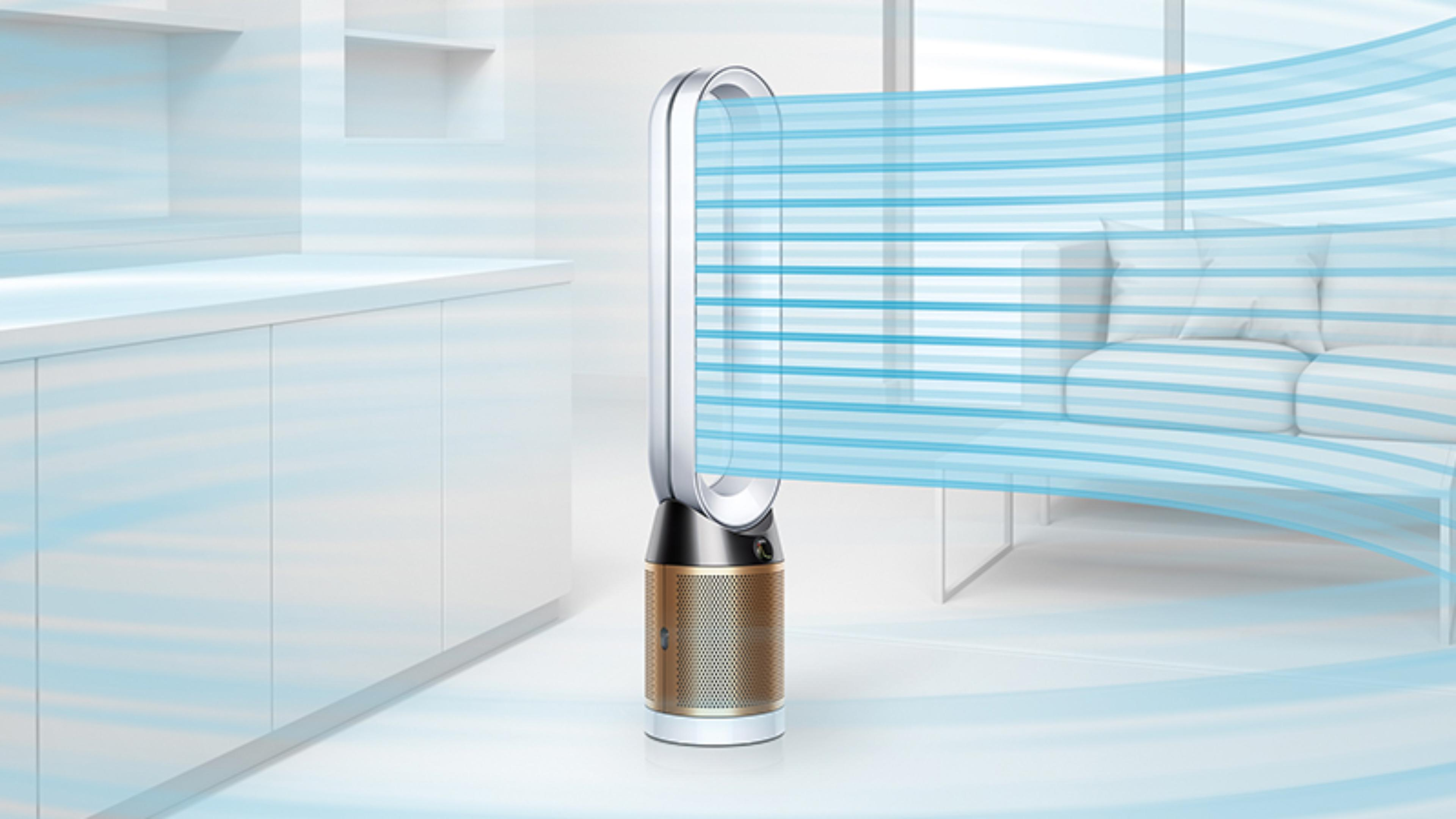 A Dyson Pure Cryptomic purifier projecting air throughout the room