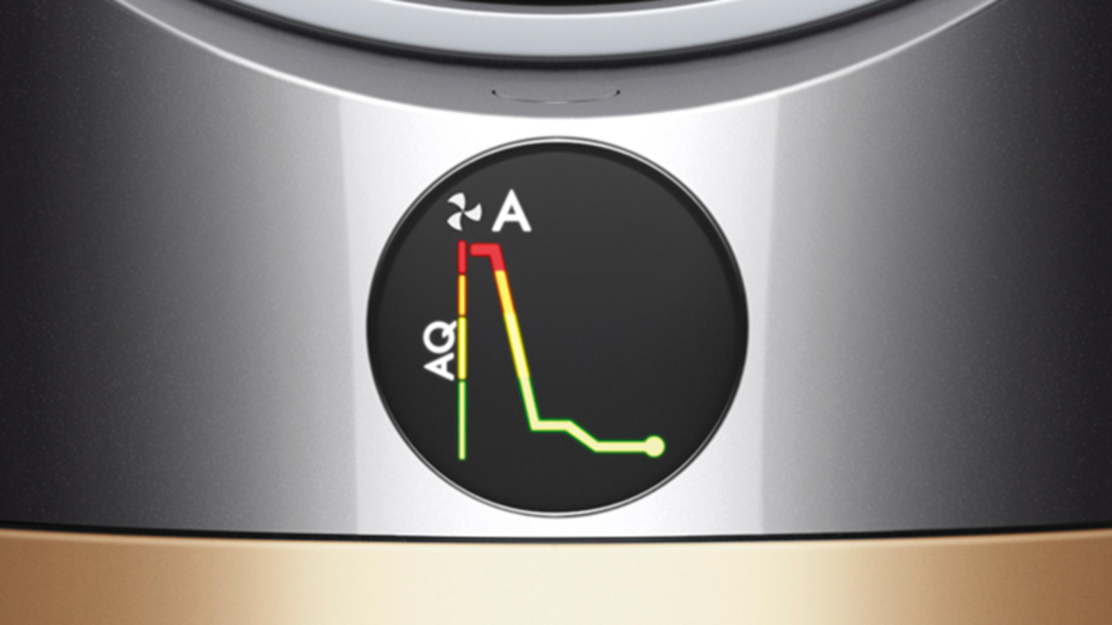 Dyson purifier LCD screen with graph to show pollutant levels