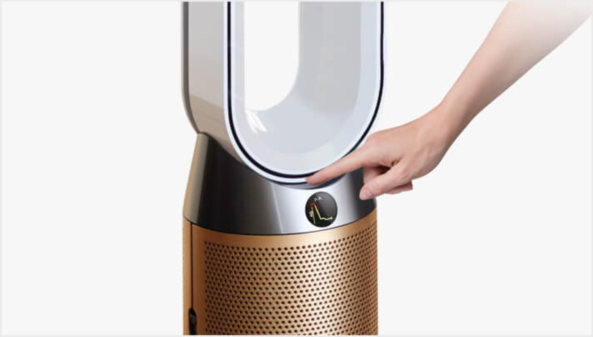 Standby button being pressed on the Dyson Pure Cool Cryptomic air purifier