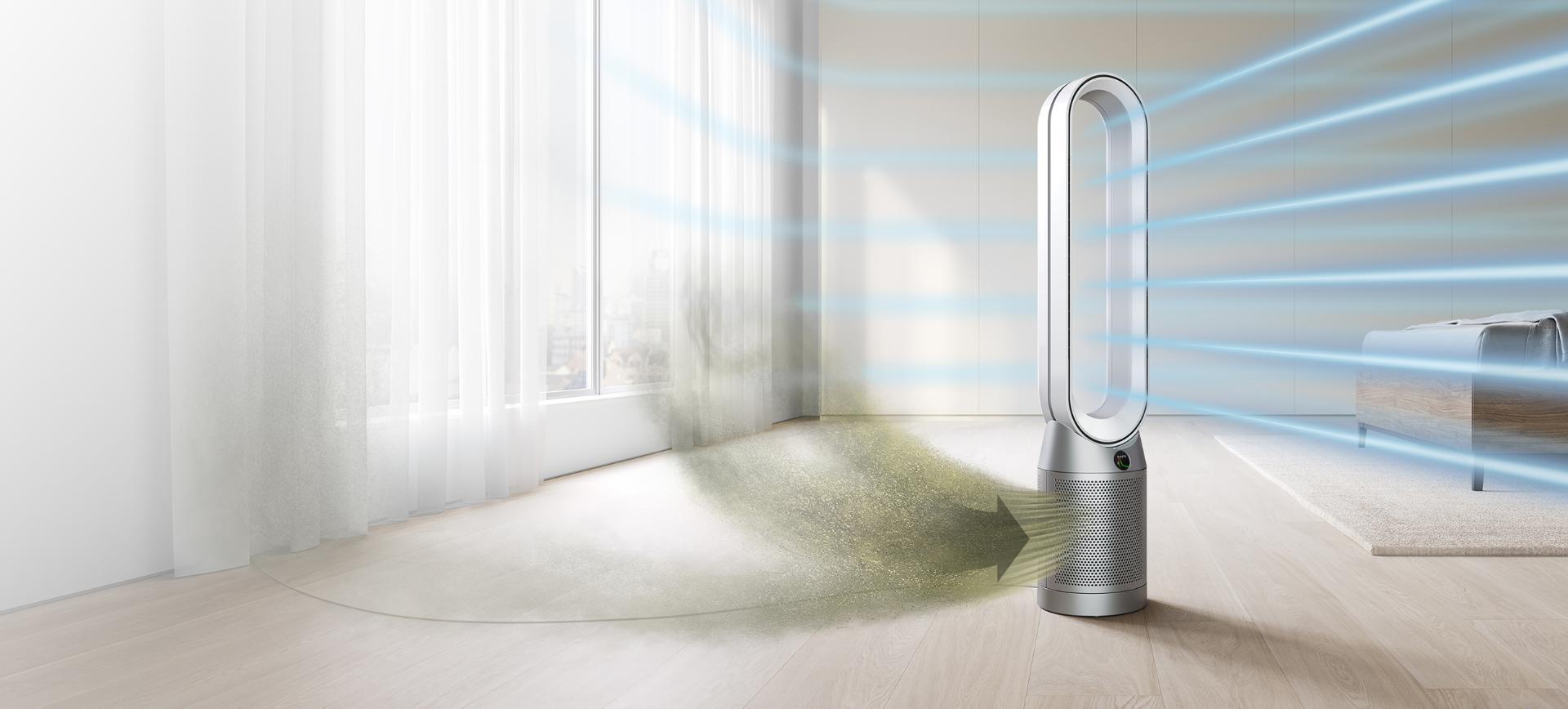 Bir yatak odasında Dyson purifier cool