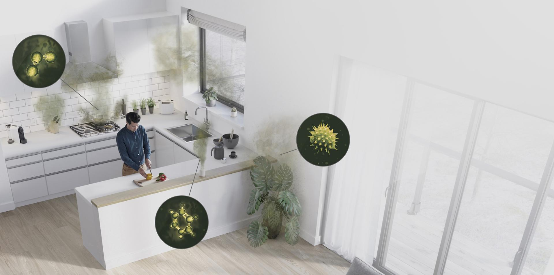 Pollutant sources in a living space and kitchen