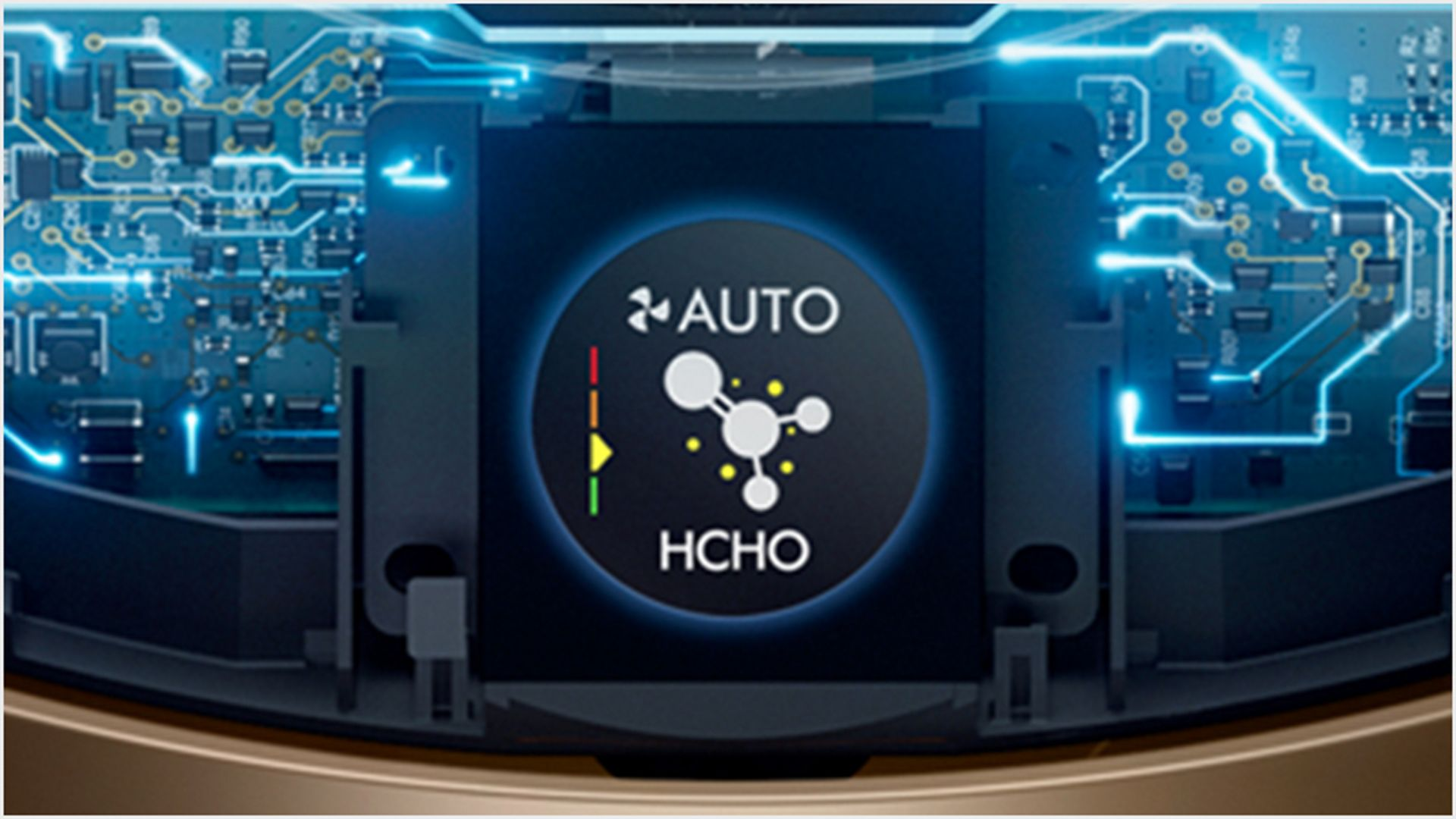 Internal sensing technology and LCD screen showing air quality