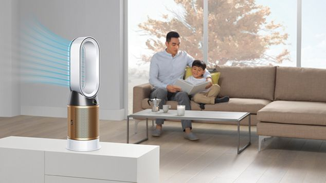 A Dyson Pure Cryptomic purifier diverting diffused airflow through the back of its loop