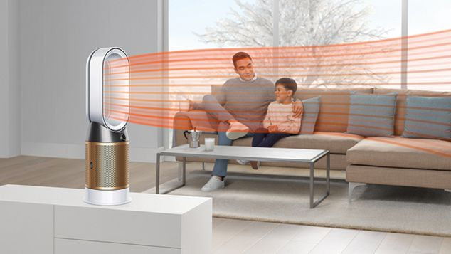 A Dyson Pure Cryptomic purifier projecting heated air throughout the room