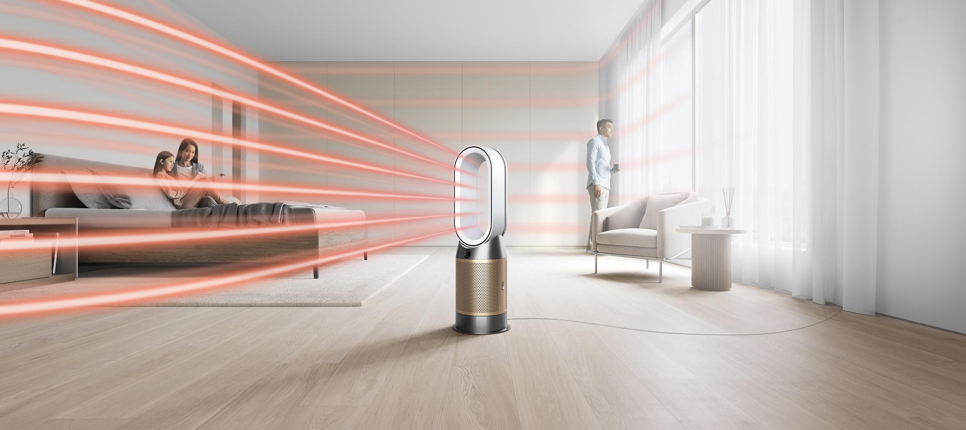 'جهاز Dyson purifier hot + cool formaldehyde بينما يقوم بتدفئة غرفة بالكامل