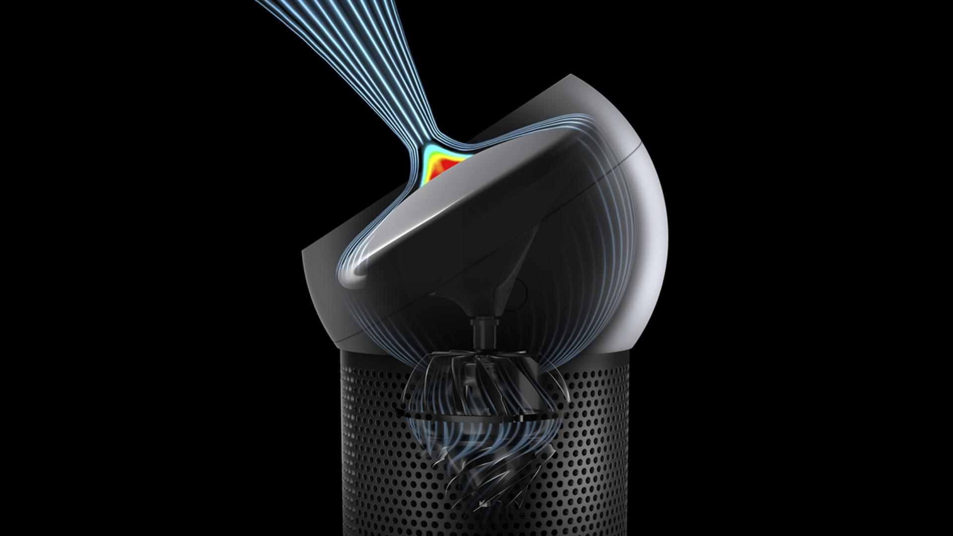 Purified air coalesces and is projected from the Dyson Pure Cool MeTM personal purifying fan