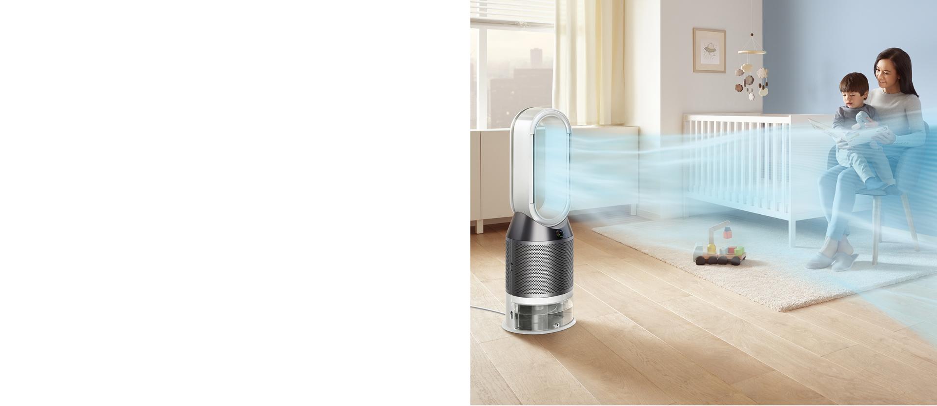 Dyson Pure Humidify+Cool çocuk odasına temizlenmiş ve nemlendirilmiş havayı dağıtıyor.