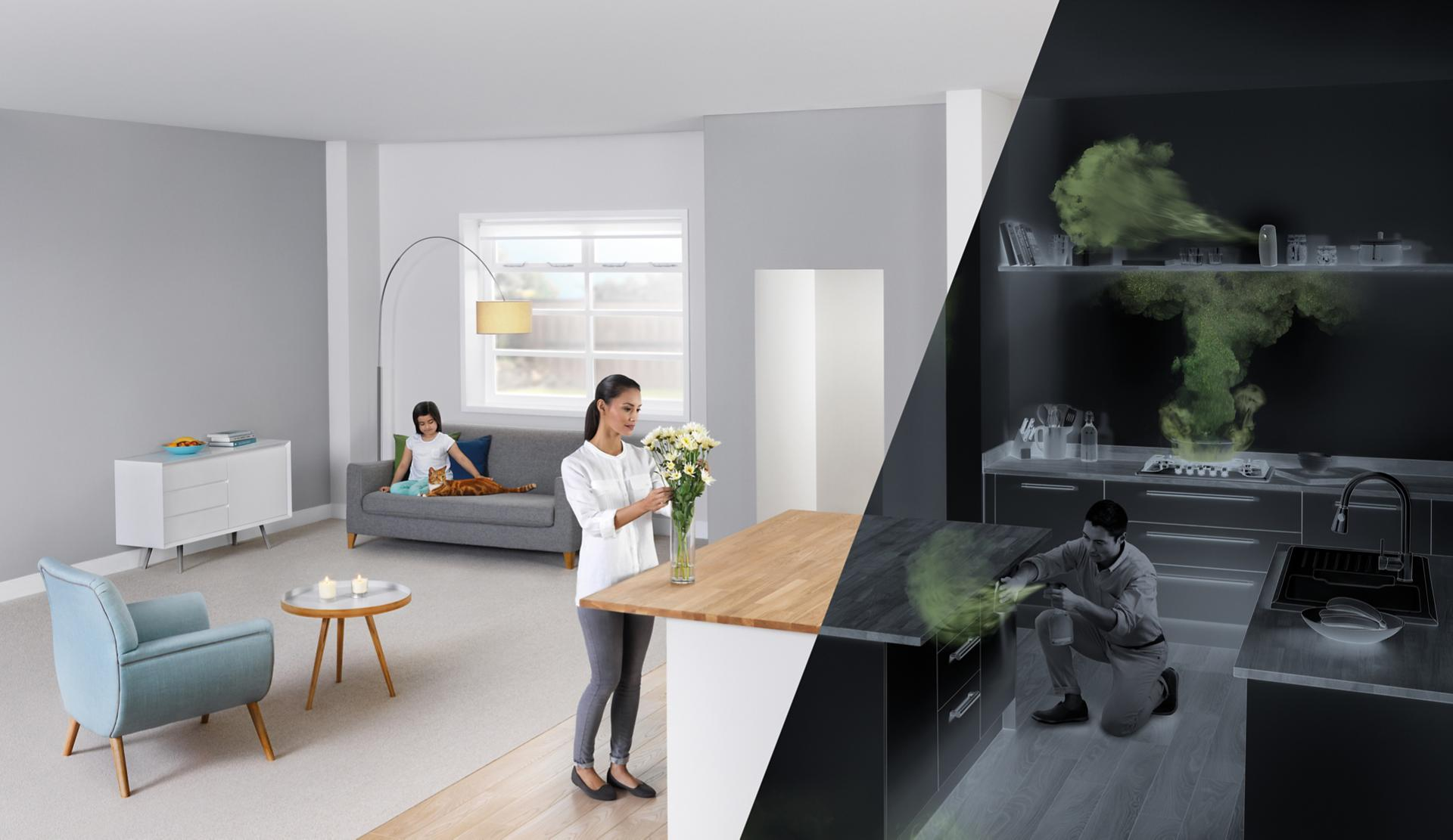 A generic home, in which everyday objects like furniture and the stove release pollutants represented by green plumes