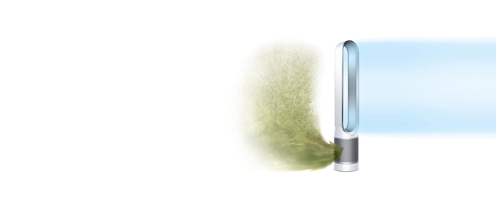 Dyson pure cool link capturing allergens and projecting cool air